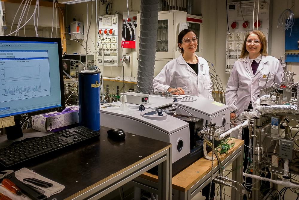 forskare i laboratoriet vid en gasflödesreaktor