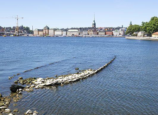 Område med hamnanläggning på cirka 10 vrak på Kastellholmen i Stockholm.