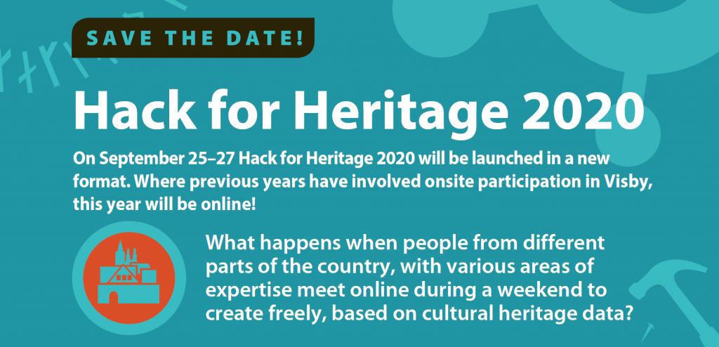 Illusterad bild med olika verktyg och texten Hack for Heritage 2020