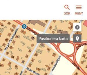 Bild som visar Positionera kartan i Fornsök.