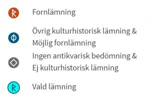 Bild som visar hur lämningsgeometrier visas i Fornsök.