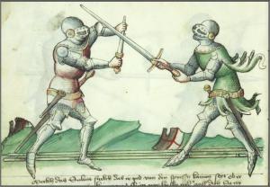 Två riddare i kamp