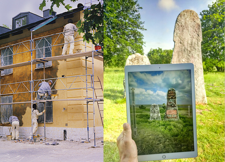 Två bilder: Fasadarbeten i kvarteret Krubban samt iPad med bild av bildsten