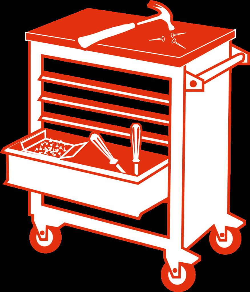 Illustration av en verktygsvagn med hammare och spikar ovanpå och skruvmejsel i låda