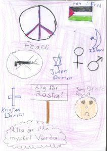 Barnteckning med fredsmärke och texten peace, kvinno- och manssymbol, stjärna med text judendomen, kors med test kristendomen, stjärna och halvmåne med text islam. text alla får rösta och alla är lika mycket värda.