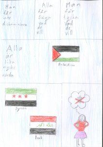 Barnteckning av flaggor från Syrien, Palestina och Irak och text om demokrati