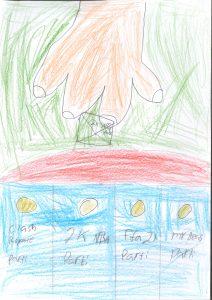 Barnteckning på hand med röstkuvert