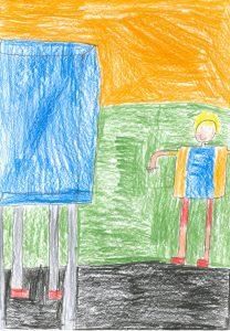 Barnteckning av glad person vid valbås i vallokal