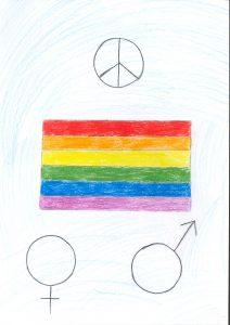 Barnteckning av prideflagga och fredsmärke och symbol för man och kvinna
