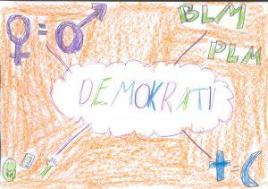 Barnteckning med ordet demokrati