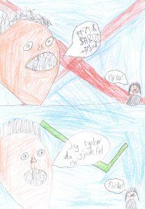 Barnteckning på bild av en man med pratbubbla med svordomar som är överstruken och bild på man som pratar vänligt
