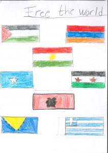 Barnteckning av flaggor och text: Free the world