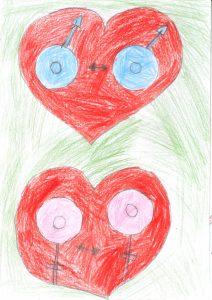 Barnteckning på hjärtan med två kvinnosymboler i samma hjärtaoch två mans symboler i samma