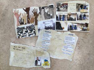 Bilder på händer med olika hudfärg, bilder på demonstation för allmän rösträtt, bilder på hur ett val går till med valbås mm, text om vad demokrati är, text om vad diktatur är samt text: alla har rätt att rösta