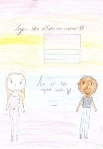 Barnteckning på en flicka och en pojke och texten: Ingen ska diskrimineras och alla är lika värda