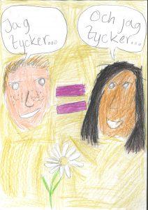 Barnteckning på två personer men text: Jag tycker och jag tycker