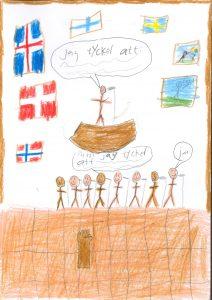 Barnteckning med flaggor och båt och människor med text: Jag tycker att.. men jag tycker att..