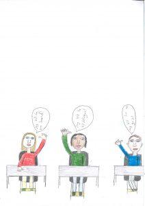 Barnteckning på tre barn som sitter i skolbänk och räcker upp handen och vill ha olika saker