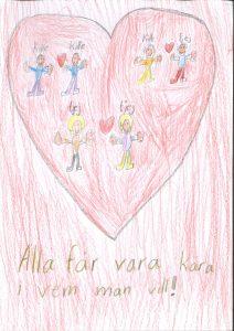 Barnteckning på stort rött hjärta med människor i, två killar med hjärta emellan, två tjejer med hjärta emellan och en kille och en tjej med hjärta emellan