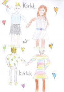 Barnteckning på par som håller varandra i handen och text: kärlek är kärlek