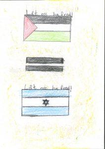 Barnteckning på flaggor med likhetstecken emellan och text: låt oss ha fred