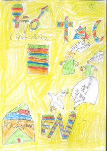 Barnteckning på kvinno- och manssymboler, valsedel, brev till riskdagen, FN-logga och religiösa symboler målade i regnbågsfärger