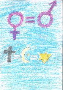 Barnteckning med mans-och kvinnosymbol och religiösa symboler och alla med likhetstecken emellan