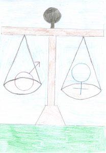 Barnteckning på vågskål med manssymbol i ena skålen och kvinnosymbol i andra och vågen väger lika