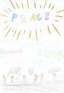 Barnteckning med texten: PEACE