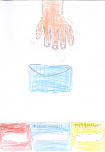 Barnteckning på hand som tar ett kuvert för röstsedlar