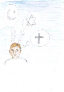 Barnteckning på person som tänker på tre religiösa symboler