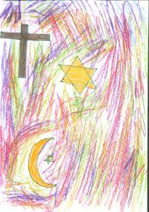 Barnteckning på religiösa symboler, stjärna, kort och månskära
