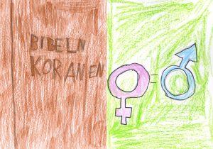 Barnteckning på bibeln och koranen och mans-och kvinnosymboler med likhetstecken emellan