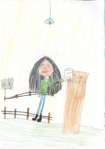 Barnteckning på flicka som postar valsedel