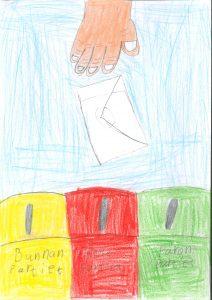 Barnteckning på hand som lägger kuvert med röstsedel