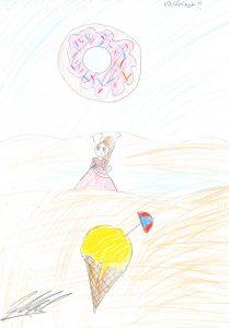 Barnteckning på flicka som ska välja mellan glass och munk och