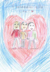 Barnteckning av ett rött hjärta med tre personer och text: vi behandlar alla lika!