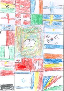 Barnteckning på fredsmärke och flaggor från hela världen