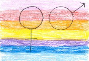 Barnteckning på mans- och kvinnosymbol på regnbågsfärgad bakgrund