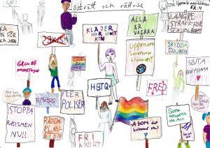 Barnteckning med personer som håller demonstrationsskyltar med uppmaningar som stoppa rasismen nu!! Skydda djuren! Alla är vackra!