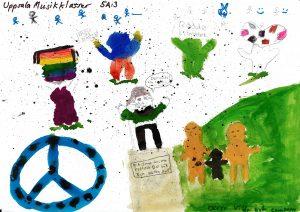 Barnteckning på barn som uttrycker åsikter och ett fredsmärke