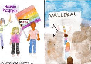 Barnteckning på personer på väg till vallokal